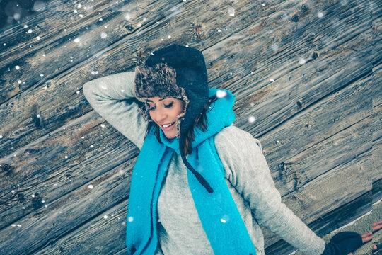 winter woman in snow