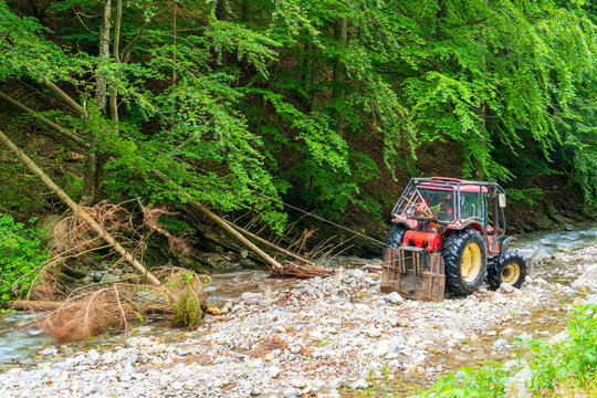 A picture of a logging tractor lifting logs in the forest. slovakia mala fatra