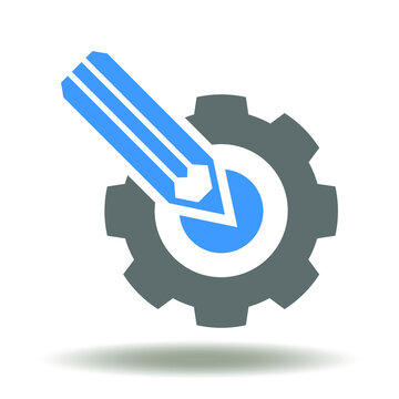 Gear with pencil icon vector. Customization symbol. Configuration, Project Settings Sign. Drawing Construction Design Industry Logo. Engineering Illustration.