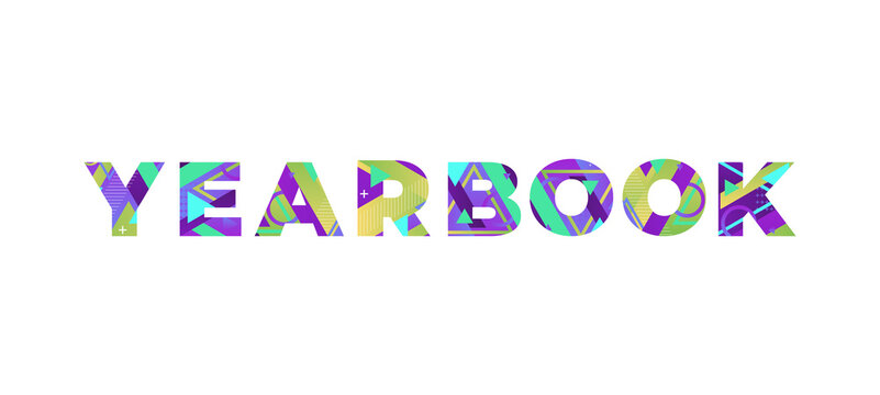 Yearbook Concept Retro Colorful Word Art Illustration