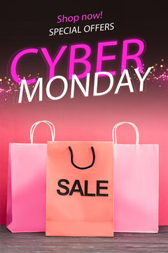 shopping bag with sale near near shop now, special offers, cyber monday lettering on pink, black friday