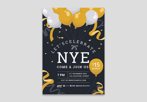 New Year Flyer Invite with Golden Balloons