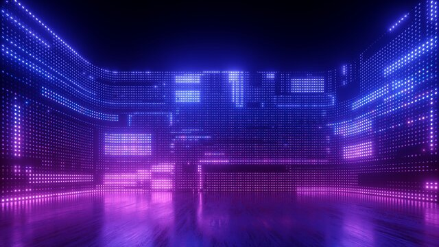 3d render, abstract futuristic ultraviolet background with cyber screen and glowing neon lights