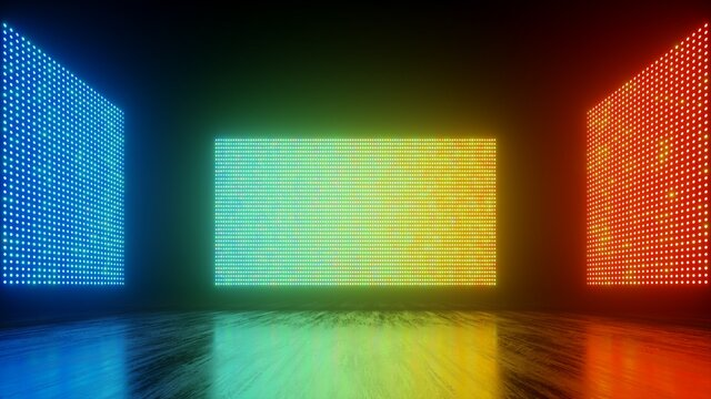 3d render, abstract colorful background with glowing screens of neon lights, rainbow spectrum