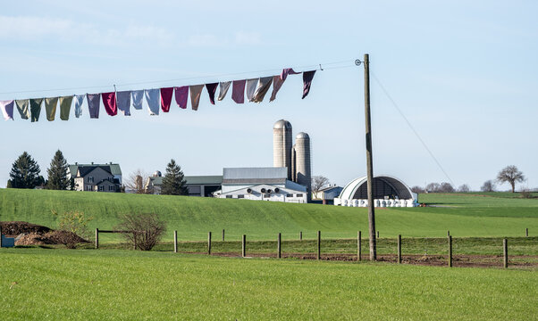 Laundy on Clothesline on Amish Farm, Lancaster, Pennsylvania
