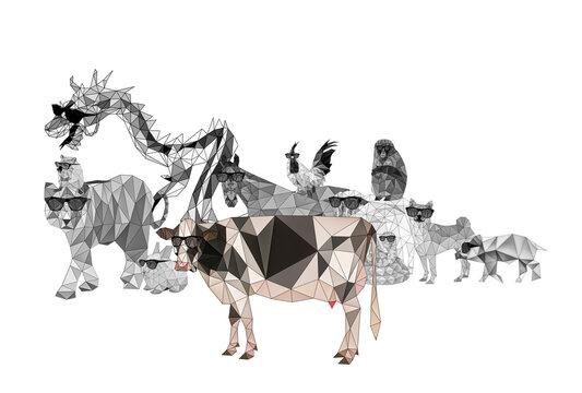 抽象的な十二支のイラスト