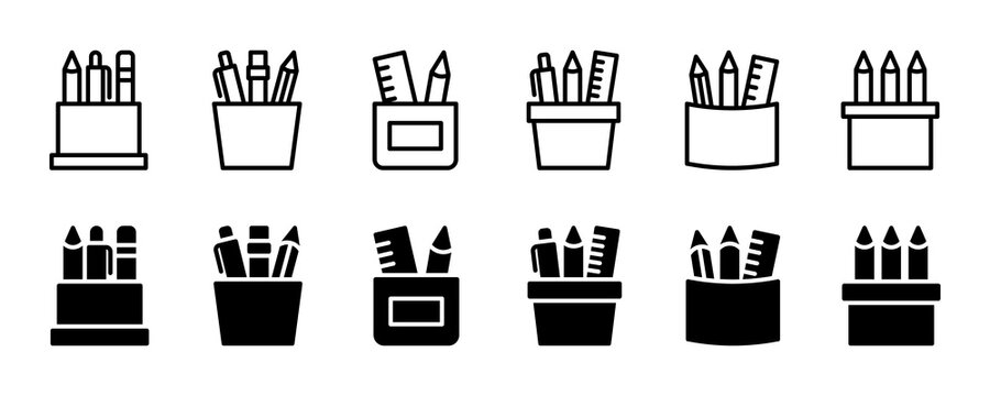 Pencil stand icon set. Vector graphic illustration. Suitable for website design, logo, app, template, and ui.