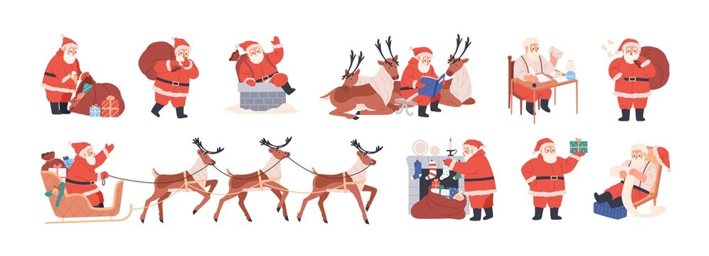 Set of xmas Santa Claus character riding reindeer sleigh, carrying bag with presents, putting gifts into merry christmas socks, writing letters. Flat vector illustration isolated on white background