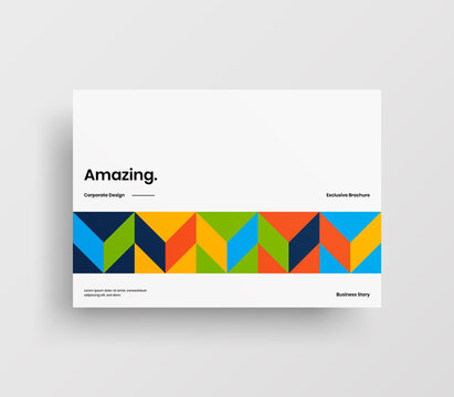 Creative business abstract horizontal front page vector mock up. Corporate geometric report cover illustration design layout. Company identity brochure template.