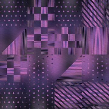 Hip random geo pattern on blurry background. High quality illustration. Classy chic shapes. Fashionable luxurious graphic motif. Geometric shape design on fuzzy blurred backdrop.