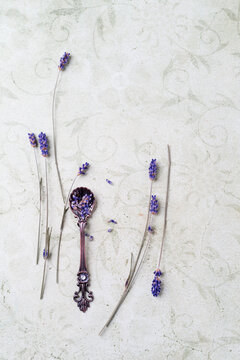Lavender flowers on a spoon