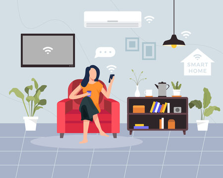 Smart home concept illustration. Concept of house technology system with wireless centralized control. Young woman sit on the sofa holding smartphone. Vector illustration in a flat style