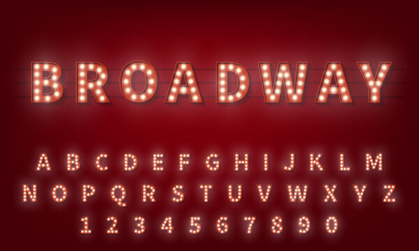Light bulb alphabet. Broadway style 3d retro typography typeface