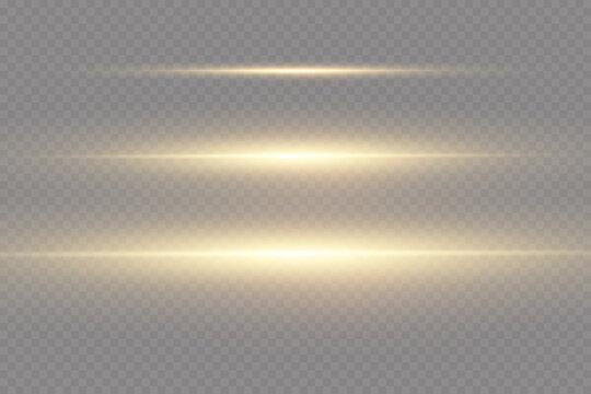 Set of golden horizontal lens flares. Laser beams, horizontal light beams. Glow transparent vector set of light effects, burst, glitter, spark, solar flare.