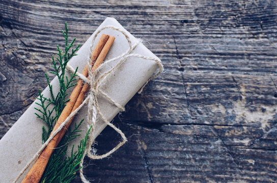 Christmas presents with natural decorations