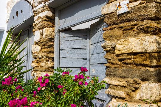Fenster mit Blumen im Bergdorf Pirgos auf der griechischen Kykladeninsel Tinos