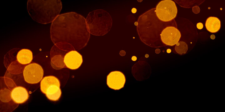 Glowing Golden Particles Stock Image In Black Background