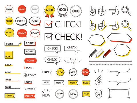 ポイント、チェック、NEWのシンプルなアイコンセット-Point, check, NEW icon