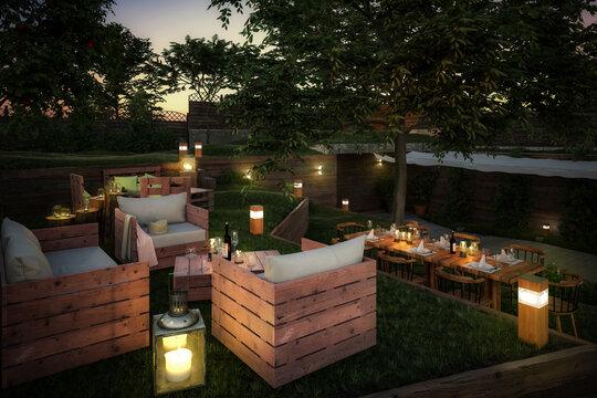 Garden Restaurant Project (project) - 3D visualizalation