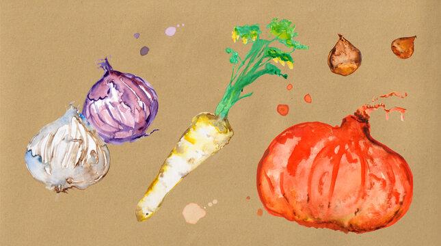 Illustration mix vegetables bio market gardening kraft background watercolor