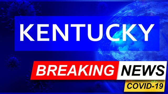 Covid and kentucky in breaking news - stylized tv blue news screen with news related to corona pandemic and kentucky, 3d illustration