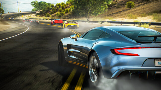 Spain, Badajoz ; November 24 2020:Aston Martin One-77 in Videogame Need for Speed Hot Pursuite Remastered.