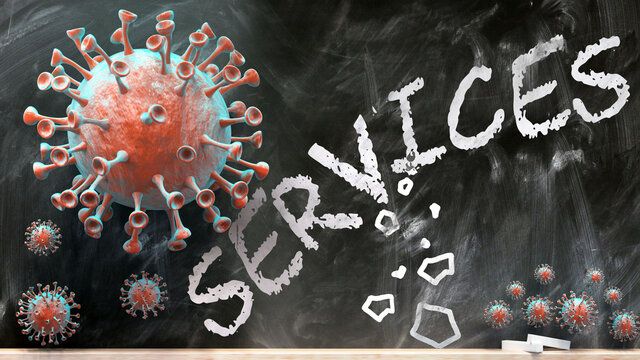 Covid and services - covid-19 viruses breaking and destroying services written on a school blackboard, 3d illustration