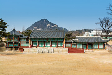Korean wooden traditional house with black tiles in Gyeongbokgung,  also known as Gyeongbokgung Palace or Gyeongbok Palace, the main royal palace of Joseon dynasty.