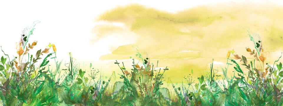 watercolor illustration. Vintage wild grass, flowers, plants, sunset, sky Orange ink, paint. Stylish fashionable card, background, pattern. Grunge background. Country landscape