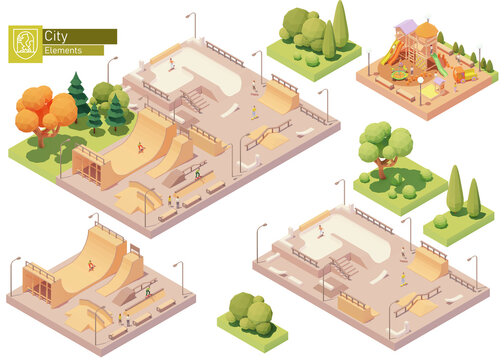 Vector isometric playground and skate park. Modern colorful wooden children playground. Concrete and wooden skatepark for skateboarding. Isometric city or town map construction elements