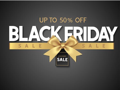 Black friday sale design template Text with decorative golden bow and price tag. Vector illustration