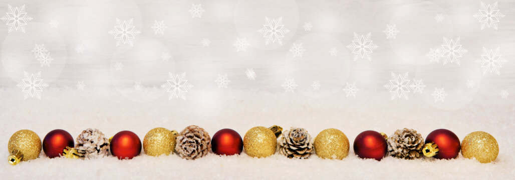 Christmas banner with baubles and cones, headline, header, panorama