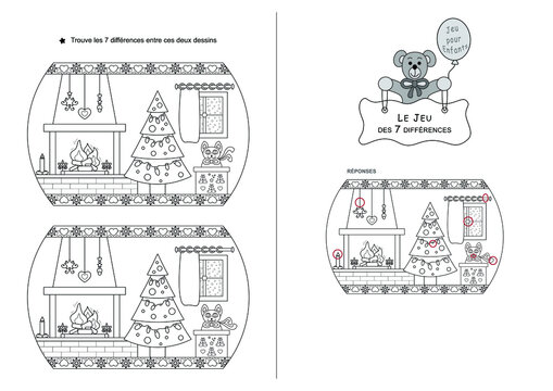The game of seven differences. Game for kids. Christmas theme. Black and white. French Language.