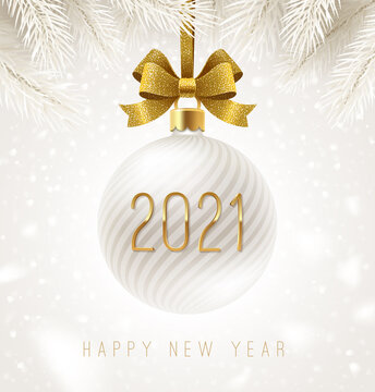Holiday white bauble with glitter gold bow ribbon and New year 2021 number.  Vector illustration. Greeting card.