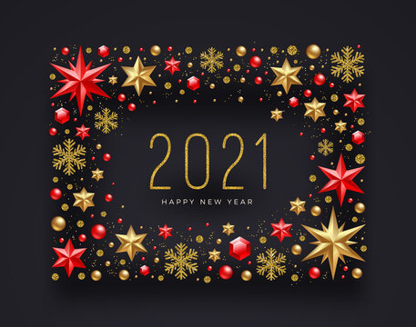 New Year 2021 greeting illustration. Frame made from stars, ruby gems, glitter gold snowflakes and beads. Vector illustration.