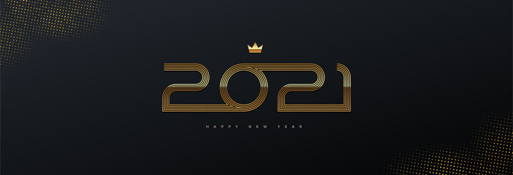 2021 new year logo. Greeting design with golden  number of year. Design for greeting card, invitation, calendar, etc.