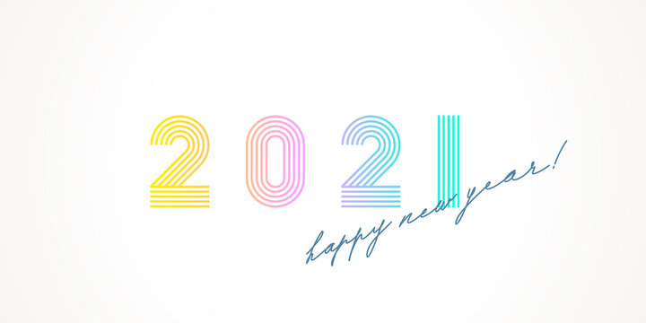 Multicolored 2021 new year logo with calligraphic holiday greeting on a white background. Design for greeting card, invitation, calendar, etc.