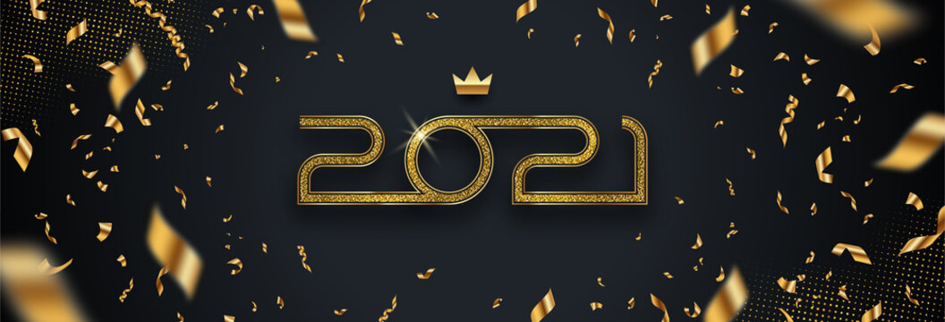 2021 new year logo. Greeting design with number of year and golden confetti on a black background. Design for greeting card, invitation, calendar, etc.