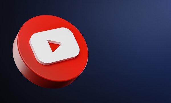 Youtube Circle Button Icon 3D on Dark Bakcgorund. Elegant Template Blank Space