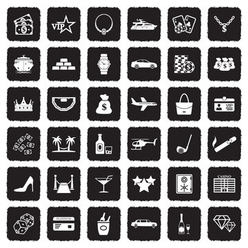 Luxury And Wealth Icons. Grunge Black Flat Design. Vector Illustration.
