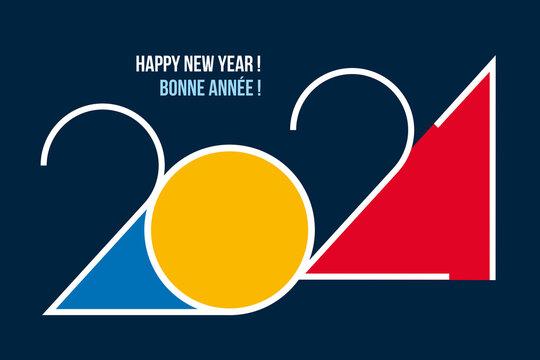 Une carte de vœux design pour 2021, avec un graphisme moderne, coloré et original pour souhaiter une bonne année et présenter les nouveaux projets d'une entreprise.