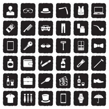 Man Accessories Icons. Grunge Black Flat Design. Vector Illustration.