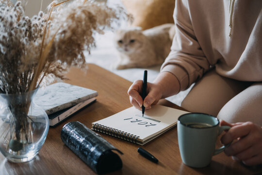 2021 goals, new year resolution, planning. Woman writing in Notebook with text 2021 loading on the table in apartments with cat. Notepad list concept, hand writting text 2021 and loading scale