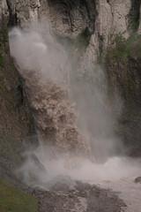 Close-up of natural monument of mountain waterfall Karakaya-su in Dzhily-Su tract