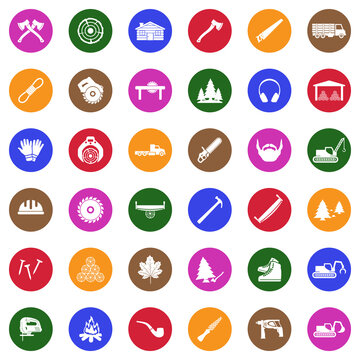 Lumberjack Icons. White Flat Design In Circle. Vector Illustration.