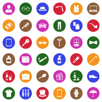 Man Accessories Icons. White Flat Design In Circle. Vector Illustration.