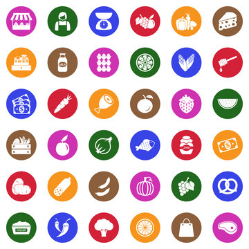 Market Place Icons. White Flat Design In Circle. Vector Illustration.