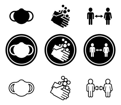 A set of Covid guideline icons. Wear a mask socially distance, and wash hands