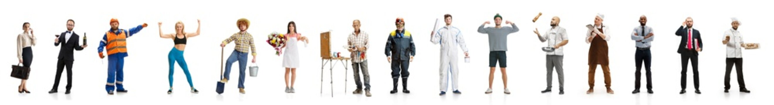 Art collage. Man and woman with different professions on white studio background, horizontal. Modern workers of diverse occupations like stylist, painter, farmer, accountant with equipment