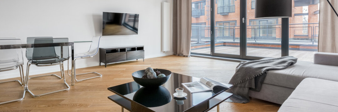 Panorama of spacious apartment